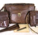 旧日本軍 腰吊図嚢、肩吊書類ケース、革鞄、軍刀柄袋セット