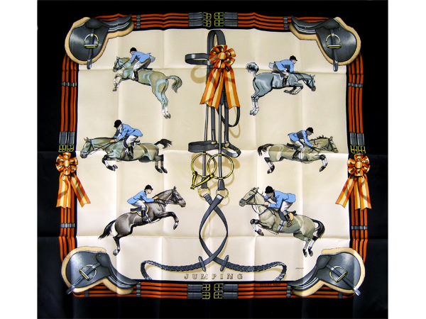 "HERMES Silk Scarf ""JUMPING"" Black"